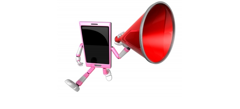 3d Smart Phone Mascot The Hand Is Holding A Loudspeaker 3d Mobi by Boians Cho Joo Young courtesy of FreeDigitalPhotos.net