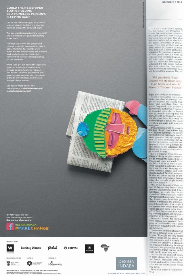 Design Indaba Sunday Times Bergie Single Page