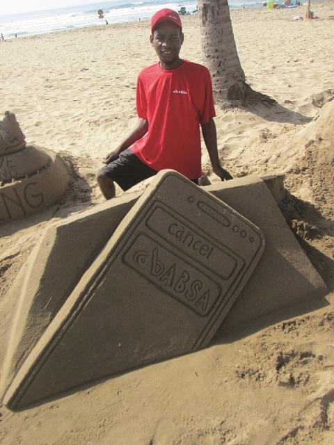 Absa Payment Pebbles OOH campaign - KZN sand castle