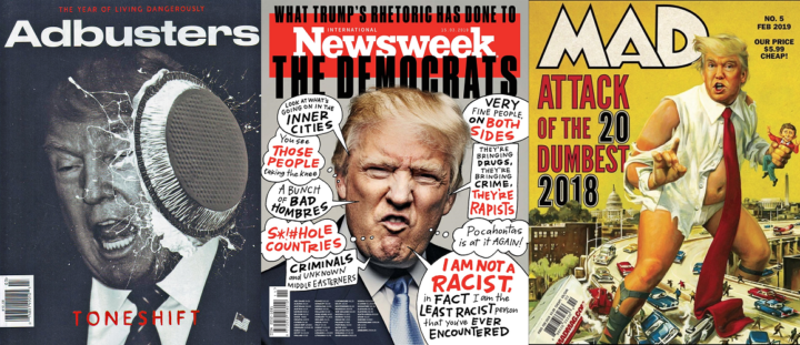 AdBusters, issue 142, February 2019; Newsweek, 15 March 2019; and MAD, February 2019 - Donald Trump