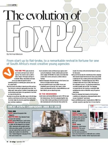 Advantage Magazine September 2010 - The evolution of FoxP2