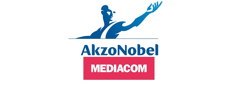 AkzoNobel logo and MediaCom logo