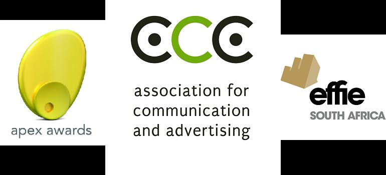 Apex Awards logo, ACA logo, and Effies South Africa logo