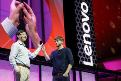 Ashton Kutcher with the Lenovo CEO, Yuanqing Yang