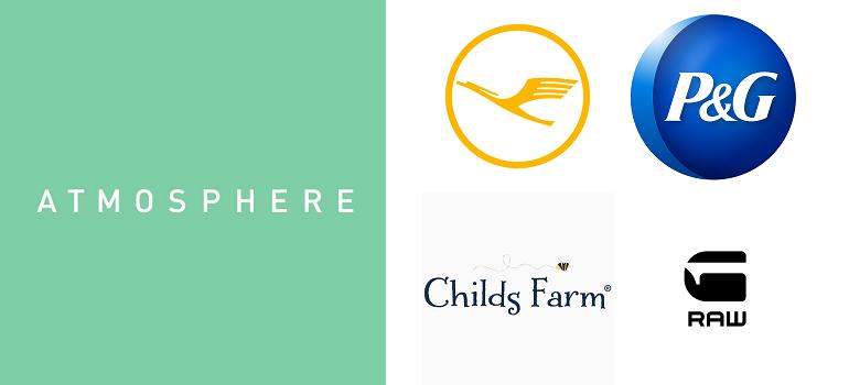Atmosphere, Lufhansa, P&G, Childs Farm and G-Star RAW logos