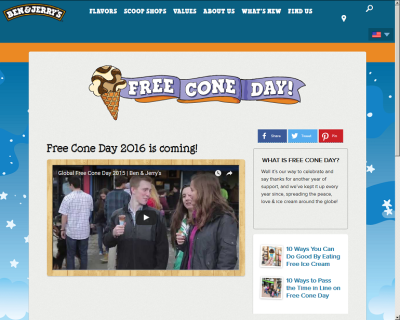 Ben & Jerry's Free Cone Day screengrab