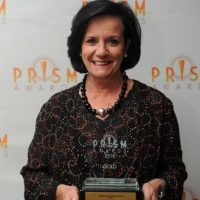 22 April 2018, Johannesburg. Bridget von Holdt holds her Lifetime Achievement Award that was presented to her at the Prism Awards 2018 Picture: Karen Sandison/African News Agency ANA