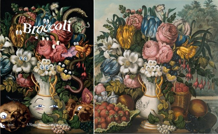 Broccoli, issue 4 2019 and Landscape Fruit and Flowers Detail, Frances Flora Bond Palmer, 1862