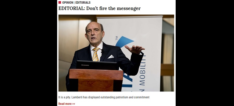 Business Day editorial on Mark Lamberti - screengrab from newsletter