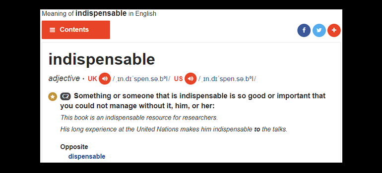 Cambridge English Dictionary screengrab of indispensable