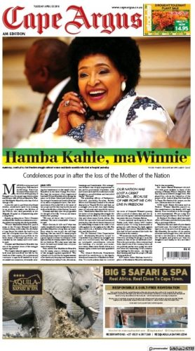 Cape Argus, 3 April 2018 - Winnie Madikizela-Mandela