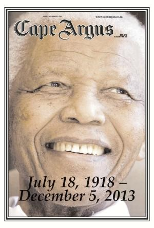Cape Argus front page 6 December 2013 — Madiba