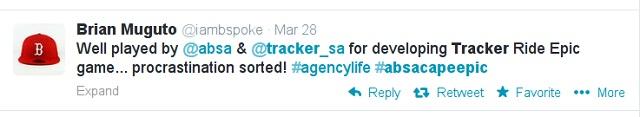 2014 Cape Epic/Tracker tweet