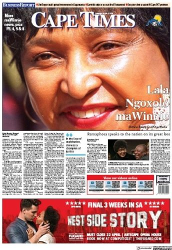 Cape Times, 3 April 2018 - Winnie Madikizela-Mandela