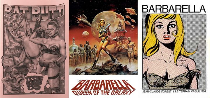 Collage - Batt Butt 5, Barbarella film poster, Barbarella comic 1 1964