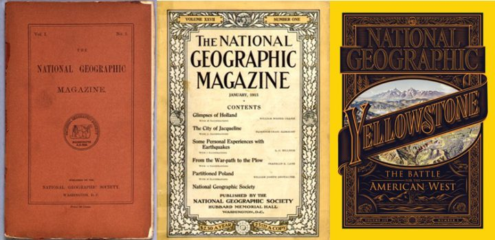 Collage - National Geographic vol 1 issue 1, 22 September 1888, vol XXVII no 1 and vol 229 no 5