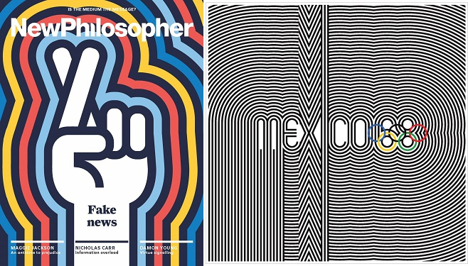 Collage - New Philosopher, August-September 2017 and Olympic Games logo Mexico 1968