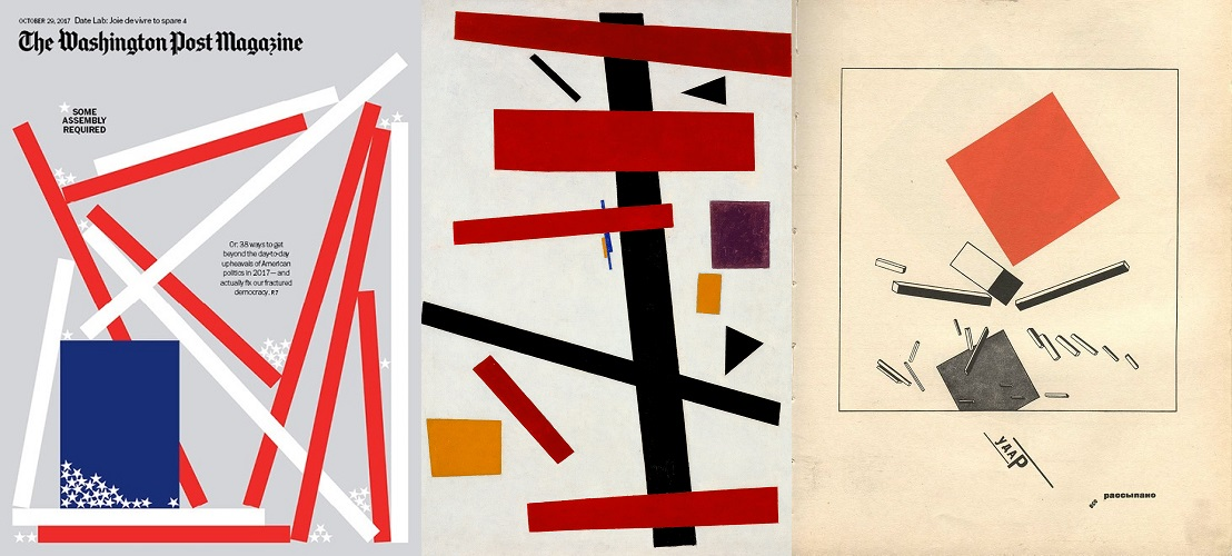Collage - The Washington Post Magazine 29 Oct 2017, Kasimir Malevich Supremus No 50 1915, El Lizzitsky About Two Squares Page 1922