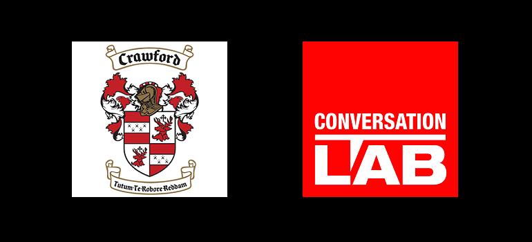 Crawford Schools logo and Conversation LAB logo