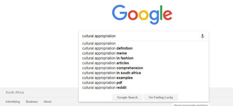 Cultural appropriation screengrab via Google