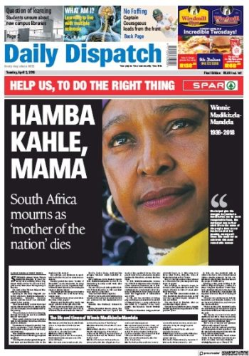 Daily Dispatch, 3 April 2018 - Winnie Madikizela-Mandela