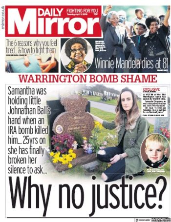 Daily Mirror, 3 April 2018 - Winnie Madikizela-Mandela
