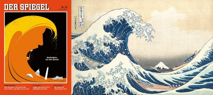 Der Spiegel, 4 November 2017 - Donald Trump - The Great Wave off Kanagawa by Hokusai