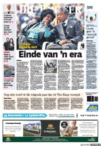 Die Burger, 3 April 2018 - Winnie Madikizela-Mandela