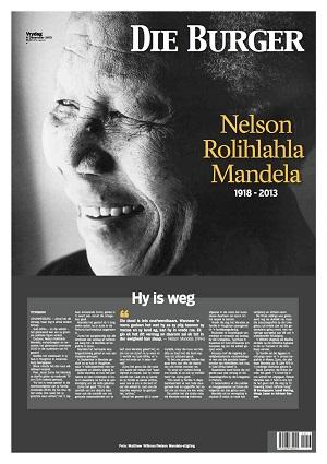 Die Burger front page 6 December 2013 — Madiba