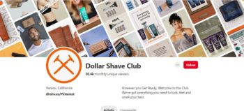 Dollar Shave Club Pinterest profile screengrab