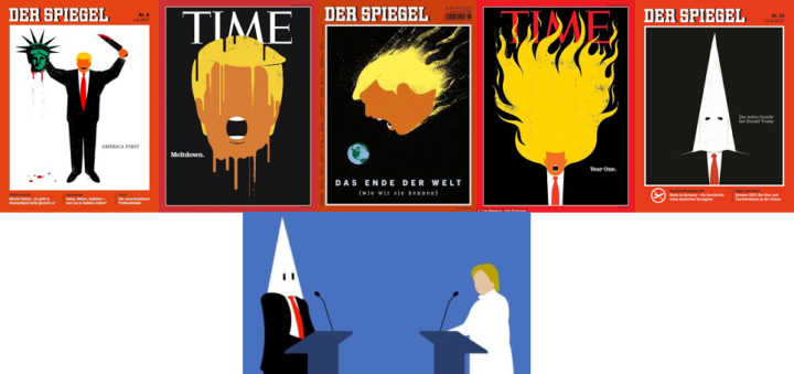 Edel Rodriguez collage of Donald Trump magazine covers