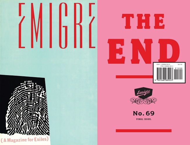 Emigre, issue 1 1984 and issue 69 2008