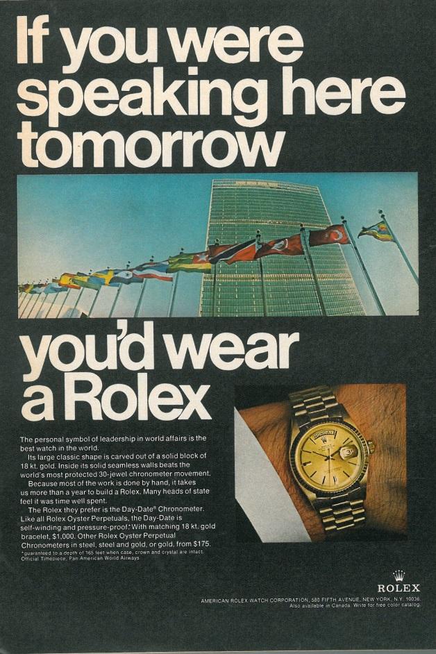 Rolex ad, Esquire US, December 1967