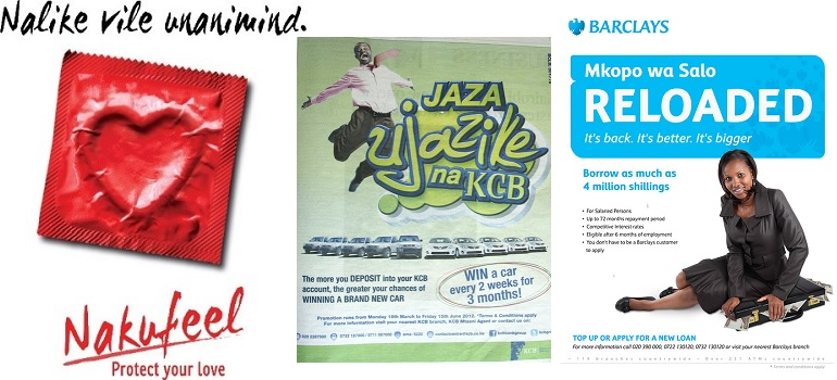 Examples of Kenyan ads using sheng