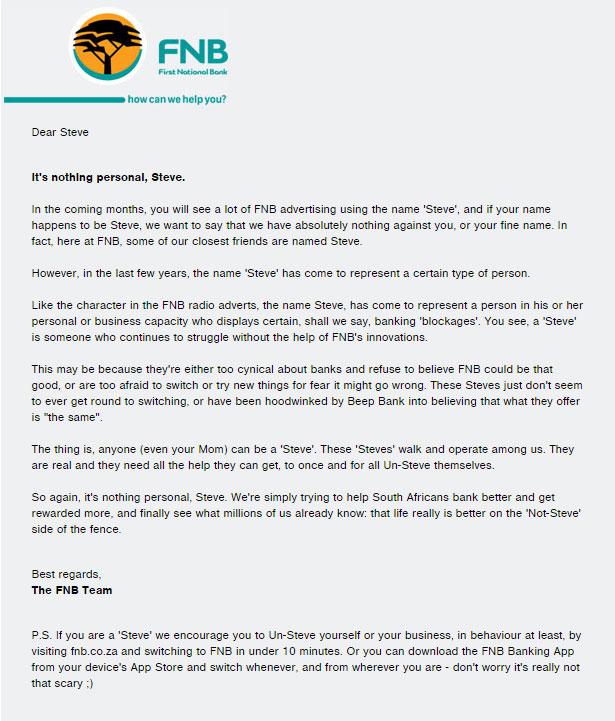 FNB's letter to Steve