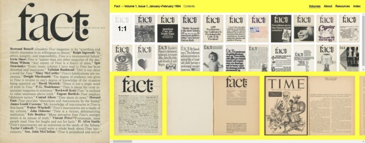 Fact, volume 1, issue 1964 and Fact archive online, September 2018