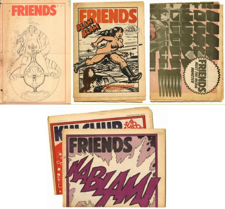 Friends magazine, no 1 1969, no 12 1970, no 27 1971, no 26 1971