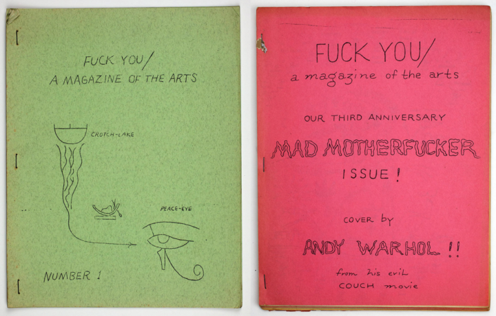 Fuck You Magazine, Issue 1, 1962 and issue 5 vol 8, 1965