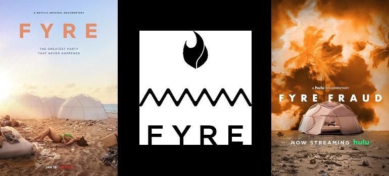 Fyre Festival logo and documentaries