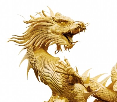Golden Dragon Statue on White Background by bugphai courtesy of FreeDigitalPhotos.net