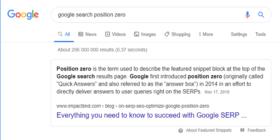 Google search position zero screengrab