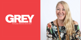 Grey logo and Louise Johnston