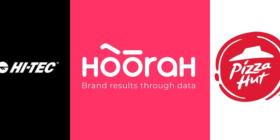 Hi-Tec logo, Hoorah Digital logo and Pizza Hut logo