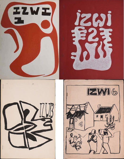 IZWI, issue 1 Casper Schmidt 1971, issue 2 Wapko Jensma 1971, issue 3 Christo Coetzee 1972, issue 6 Peter Clarke 1972