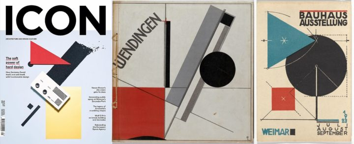 Icon, January 2018 and Wendingen by El Lissitzky, 1921 and Bauhaus Exhibition by Herbert Bayer, 1923