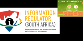 Information Regulator South Africa logo with NICD covid-19 stats 30 March 2020