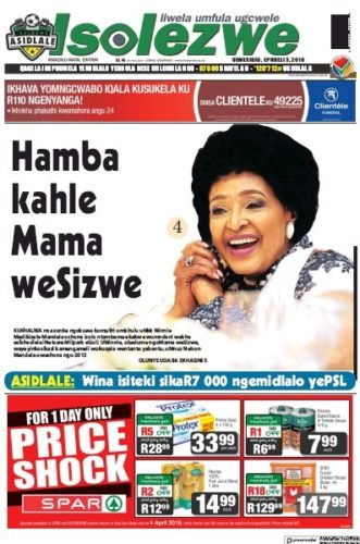 Isolezwe, 3 April 2018 - Winnie Madikizela-Mandela