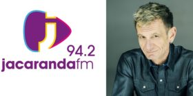 Jacaranda FM logo and Alex Jay slider