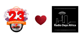 Jozi FM anniversary logo + heart + Radio Days Africa logo