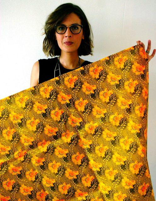 Julia Franco with a sample. Photo by Jon Pienaar.